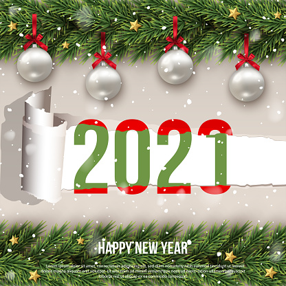 Happy 2021 new year merry christmas greeting flat creative poster with decorated ornament balls and stars fir brunches. Snowflakes and snowfall. Winter holidays. Seamless frame. Vector illustration.