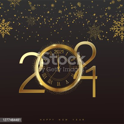 Happy 2021 Year card with golden watch and snowflakes on black background. Vector