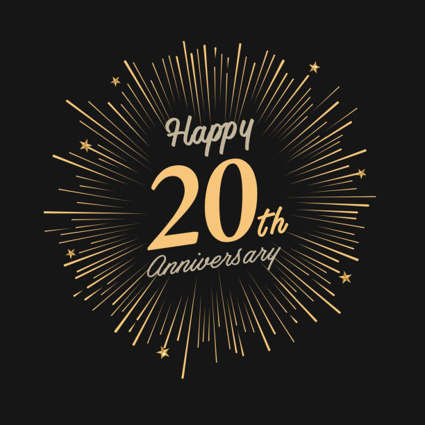 Happy 20th Anniversary with fireworks and star brochure, card, banner template 20 24 years stock illustrations