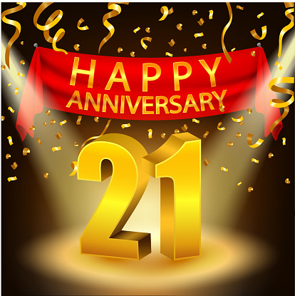 Happy 21st Anniversary Celebration With Golden Confetti And Spotlight Stock Illustration - Download Image Now - iStock