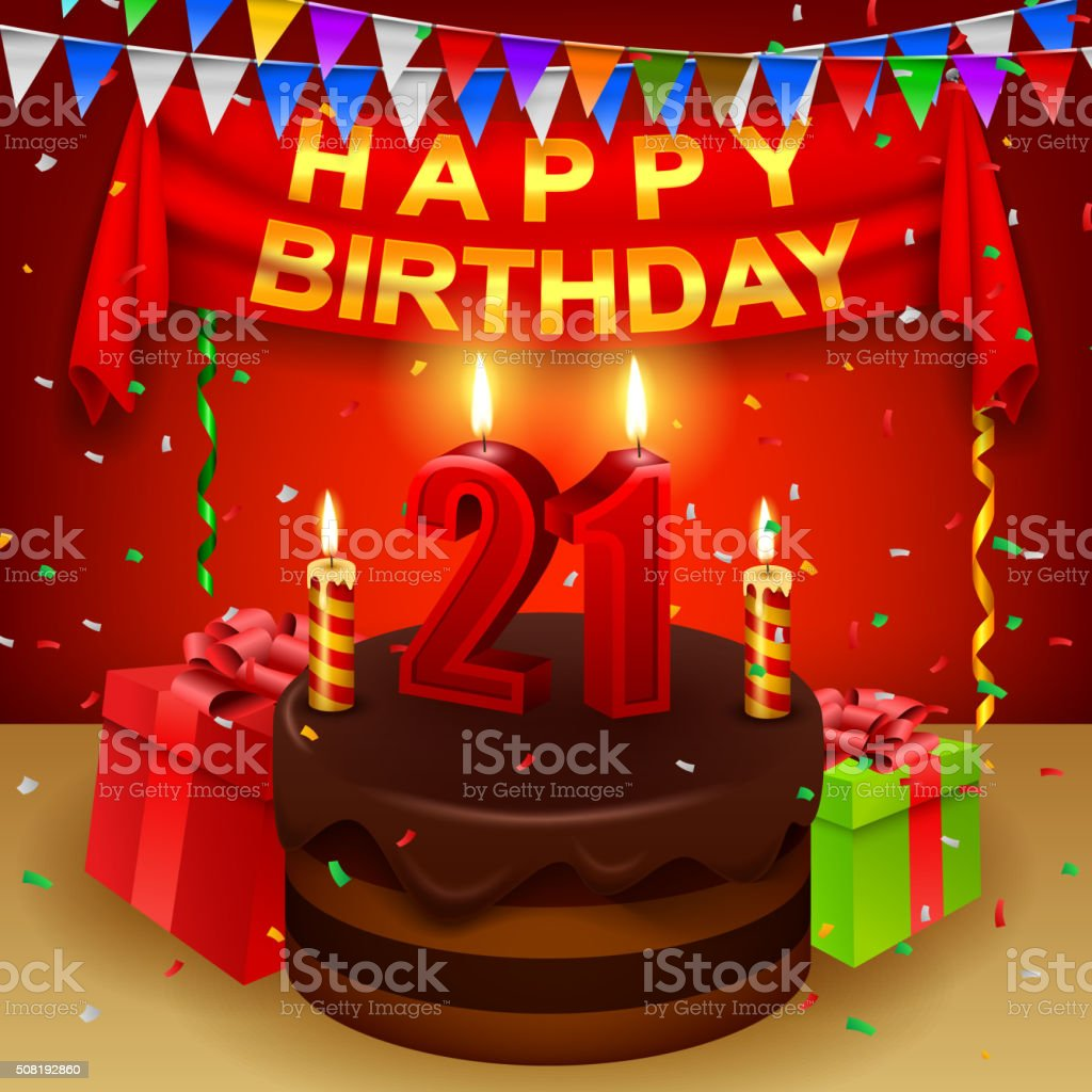 Happy 21st Birthday with chocolate cream cake and triangular flag vector art illustration