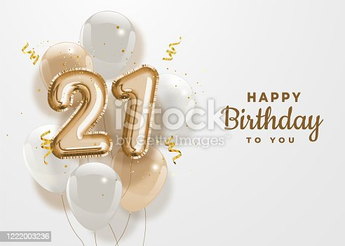 Happy 21th birthday gold foil balloon greeting background. 21 years anniversary logo template- 21th celebrating with confetti. Vector stock.
