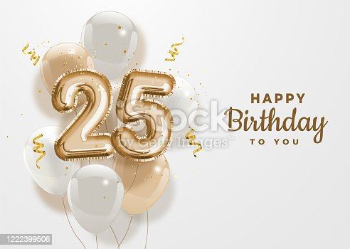 Happy 25th birthday gold foil balloon greeting background. 25 years anniversary logo template- 25th celebrating with confetti. Vector stock.