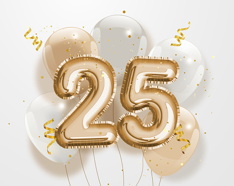Happy 25th birthday gold foil balloon greeting background.