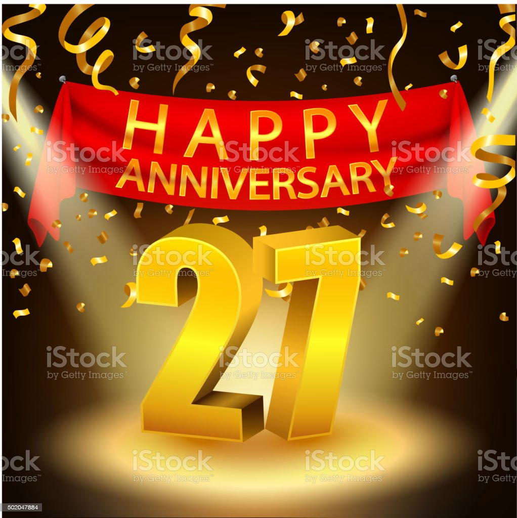 Happy 27th Anniversary celebration with golden confetti and spotlight vector art illustration