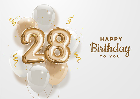 Happy 28th birthday gold foil balloon greeting background.
