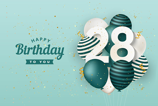 Happy 28th birthday with green balloons greeting card background.