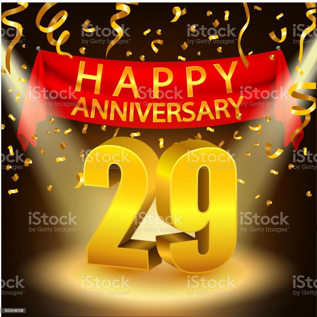 Happy 29th Anniversary Celebration With Golden Confetti And