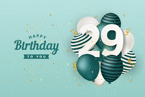 Happy 29th birthday with green balloons greeting card background.
