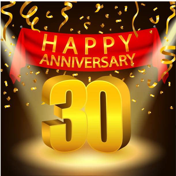 happy 30th anniversary celebration with golden confetti and spotlight vector art illustration