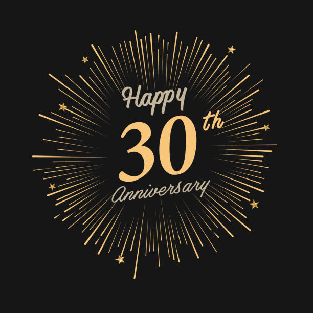 Happy 30th Anniversary with fireworks and star vector art illustration