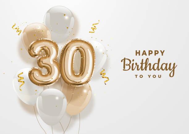 bildbanksillustrationer, clip art samt tecknat material och ikoner med grattis på 30-årsdagen guldfolie ballong hälsning bakgrund. - nummer 30