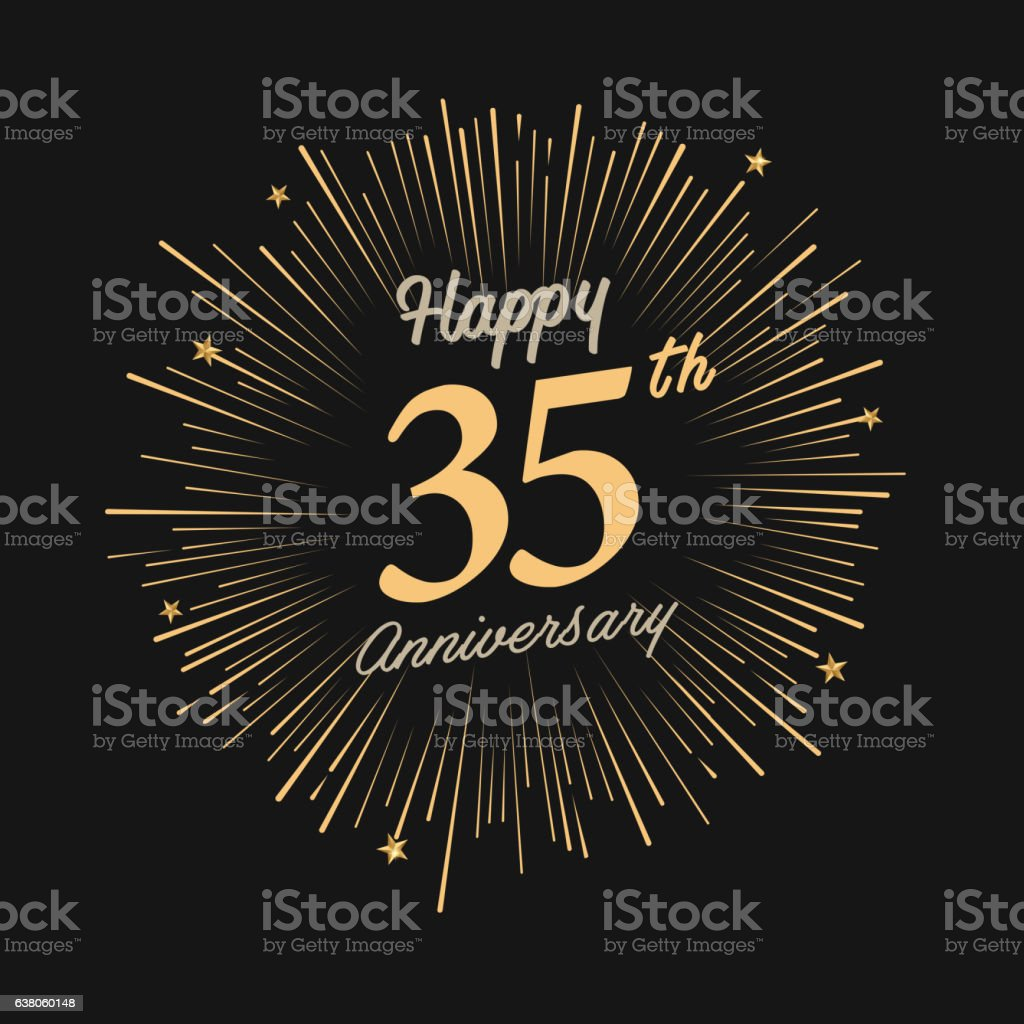 Happy 35th Anniversary with fireworks and star vector art illustration