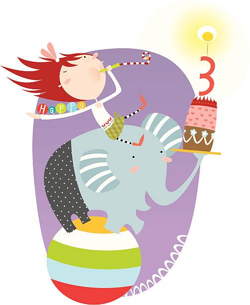 happy 3rd birthday, girl! vektorkonstillustration