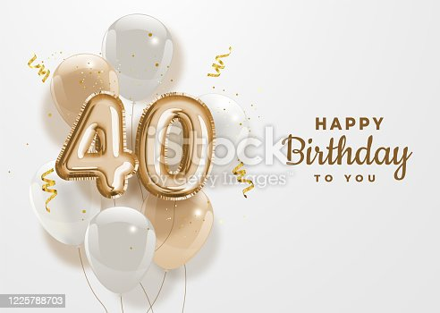 Happy 40th birthday gold foil balloon greeting background. 40 years anniversary logo template- 40th celebrating with confetti. Vector stock.