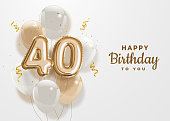 istock Happy 40th birthday gold foil balloon greeting background. 1225788703