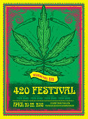 Happy 420 Festival design poster template with hand drawn pot leaf and marijuana joints. Sample placement text on separate layer. Lot's of decorative frame elements. Easy to edit.