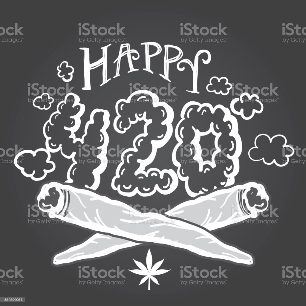 Happy 420 Marijuana Greeting design template with hand drawn elements vector art illustration