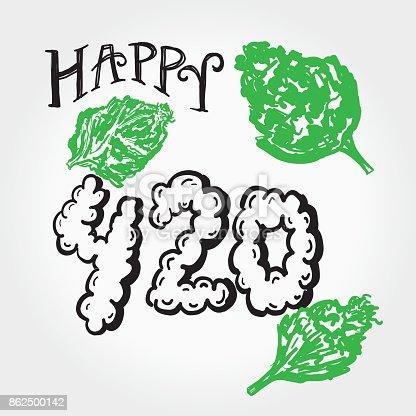 istock Happy 420 Marijuana Greeting design template with hand drawn elements 862500142