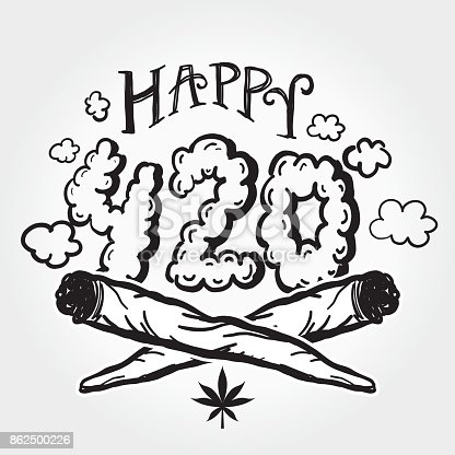 istock Happy 420 Marijuana Greeting design template with hand drawn elements 862500226
