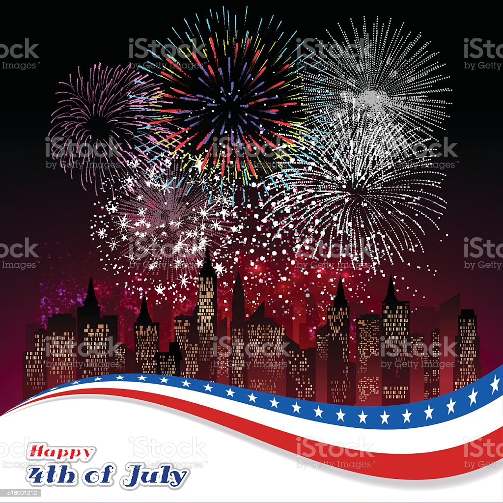 Happy 4th July independence day with fireworks background vector art illustration