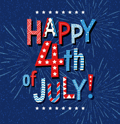 Happy 4th of July 2020 in Red white and blue doodle letters and fireworks on navy blue background.