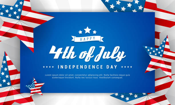 happy 4th of july background vector illustration. american flag inside of stars frame - happy 4th of july stock illustrations