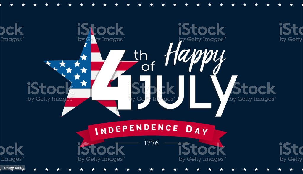 Happy 4th of July Banner Vector illustration, Independence Day, 4th of July with US flag inside star on dark blue background. Happy 4th of July Banner Vector illustration, Independence Day, 4th of July with US flag inside star on dark blue background. American Flag stock vector