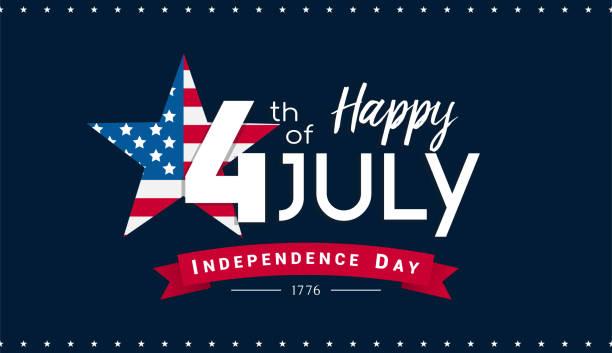 7月4日快樂橫幅向量插畫, 獨立日, 7月4日與美國國旗內星在深藍色背景。 - happy 4th of july 幅插畫檔、美工圖案、卡通及圖標