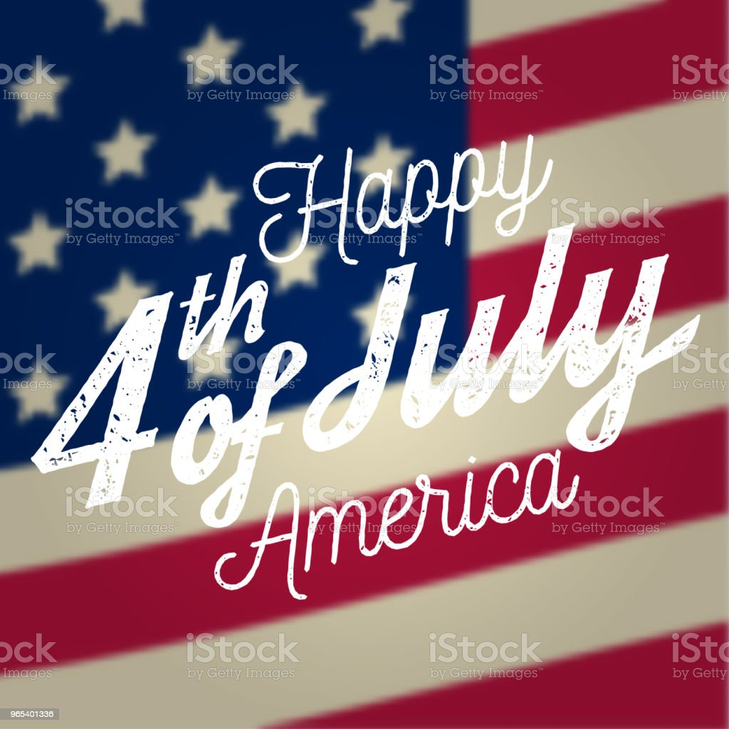 Happy 4th of july design in retro style. Fourth of July greeting card on the american national flag vector art illustration