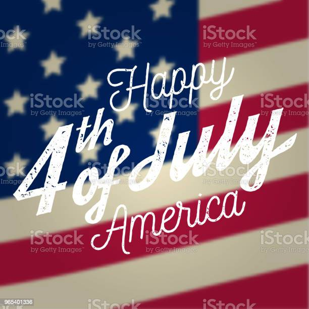 Happy 4th Of July Design In Retro Style Fourth Of July Greeting Card On The American National Flag Stock Illustration - Download Image Now