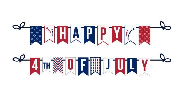 快樂 7月4日, 花環與紅色和海軍字母 - independence day 幅插畫檔、美工圖案、卡通及圖標