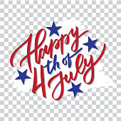 Happy 4th of July - hand-writing, calligraphy, typography, lettering. Vector isolated on white brush stroke background. For greeting card, badge, label, banner, poster, sticker.