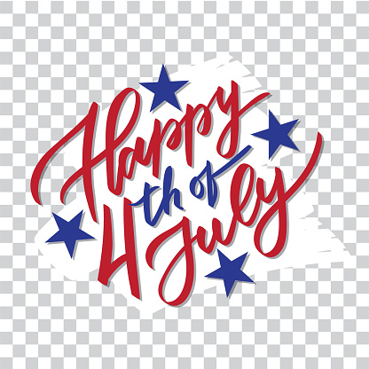 Happy 4th Of July Handwriting Calligraphy Typography Lettering Vector Isolated On White Brush Stroke Background For Greeting Card Badge Label Banner Poster Sticker Stock Illustration - Download Image Now