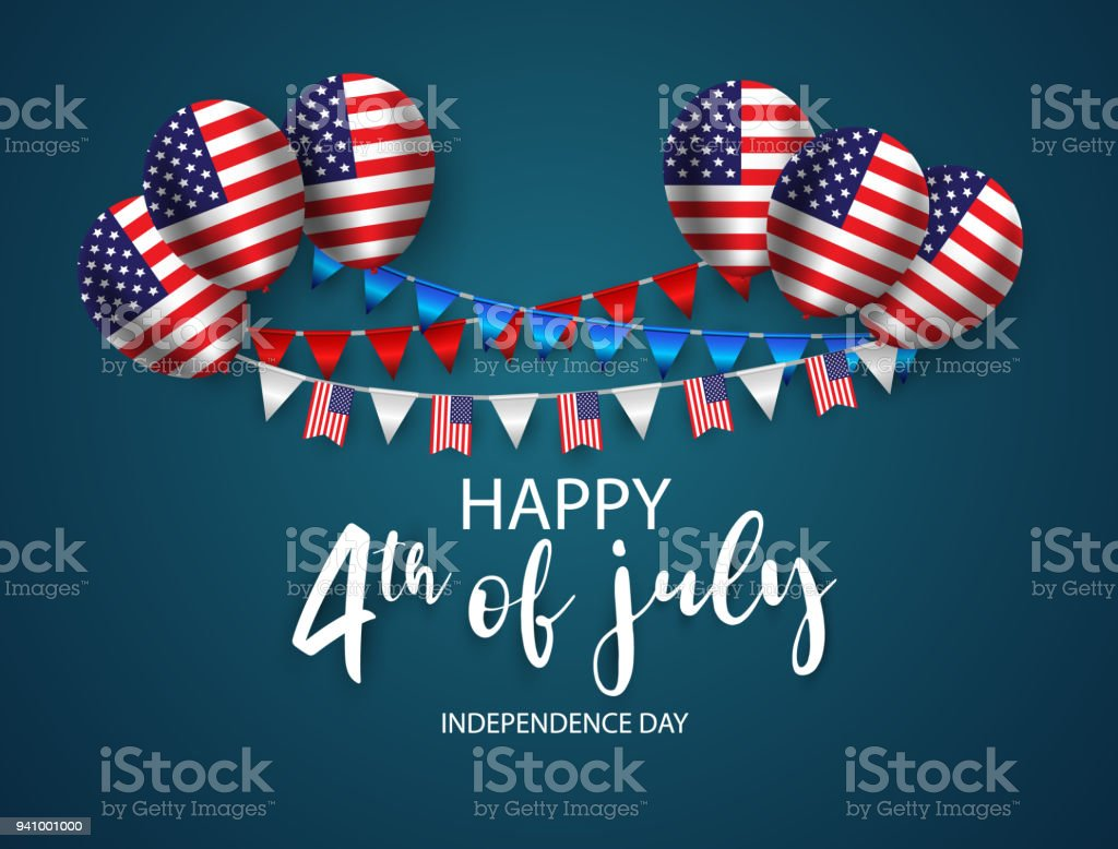 Happy 4th of July holiday banner. USA Independence Day Background. with Ribbon and Balloon vector art illustration
