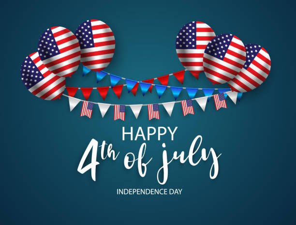 Happy 4th of July holiday banner. USA Independence Day Background. with Ribbon and Balloon Happy 4th of July holiday banner. USA Independence Day Background. with Ribbon and Balloon circa 4th century stock illustrations