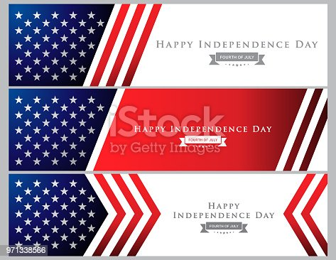 Vector of Happy 4th of July Independence Day banner. EPS Ai 10 file format.