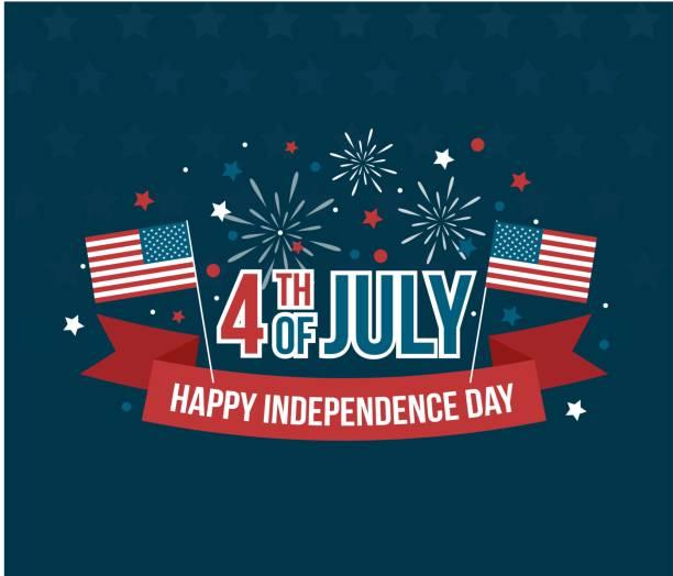 ilustraciones, imágenes clip art, dibujos animados e iconos de stock de feliz 4de el día de la independencia de julio tarjeta de felicitación con bandera americana - independence day