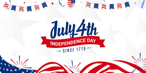 Happy 4th of July, independence day since 1776 design with ribbon on usa waving flag, firework background template for Brochures, Poster Banner. Vector illustration