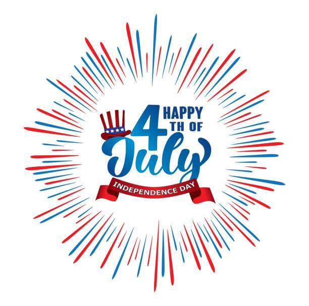 Happy 4th of July Independence day USA  handwritten phrase with hat of uncle Sam and firework. vector art illustration