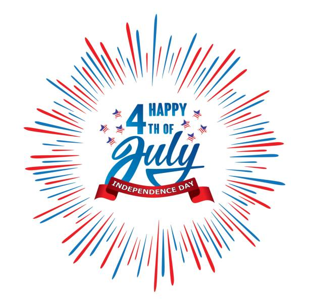 Happy 4th of July Independence day USA  handwritten phrase with stars, American flag and firework. Vector lettering illustration. vector art illustration