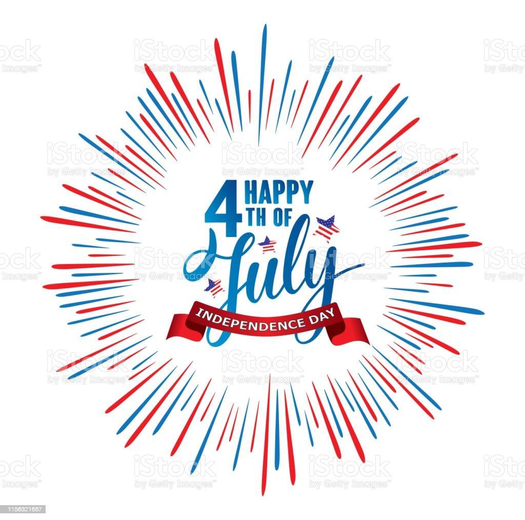 Happy 4th of July Independence day USA  handwritten phrase with stars, American flag and firework. - Grafika wektorowa royalty-free (4-go lipca)