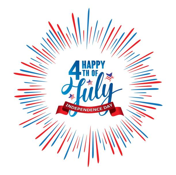 happy 4th of july independence day usa  handwritten phrase with stars, american flag and firework. - happy holidays stock illustrations