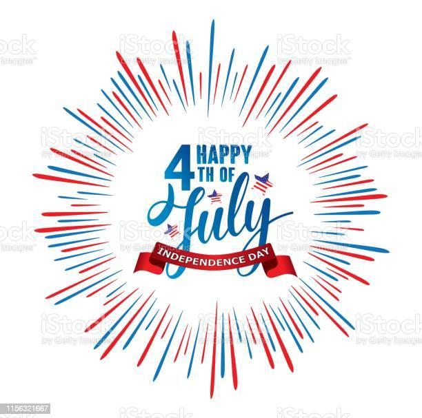 Happy 4th Of July Independence Day Usa Handwritten Phrase With Stars American Flag And Firework - Stockowe grafiki wektorowe i więcej obrazów 4-go lipca