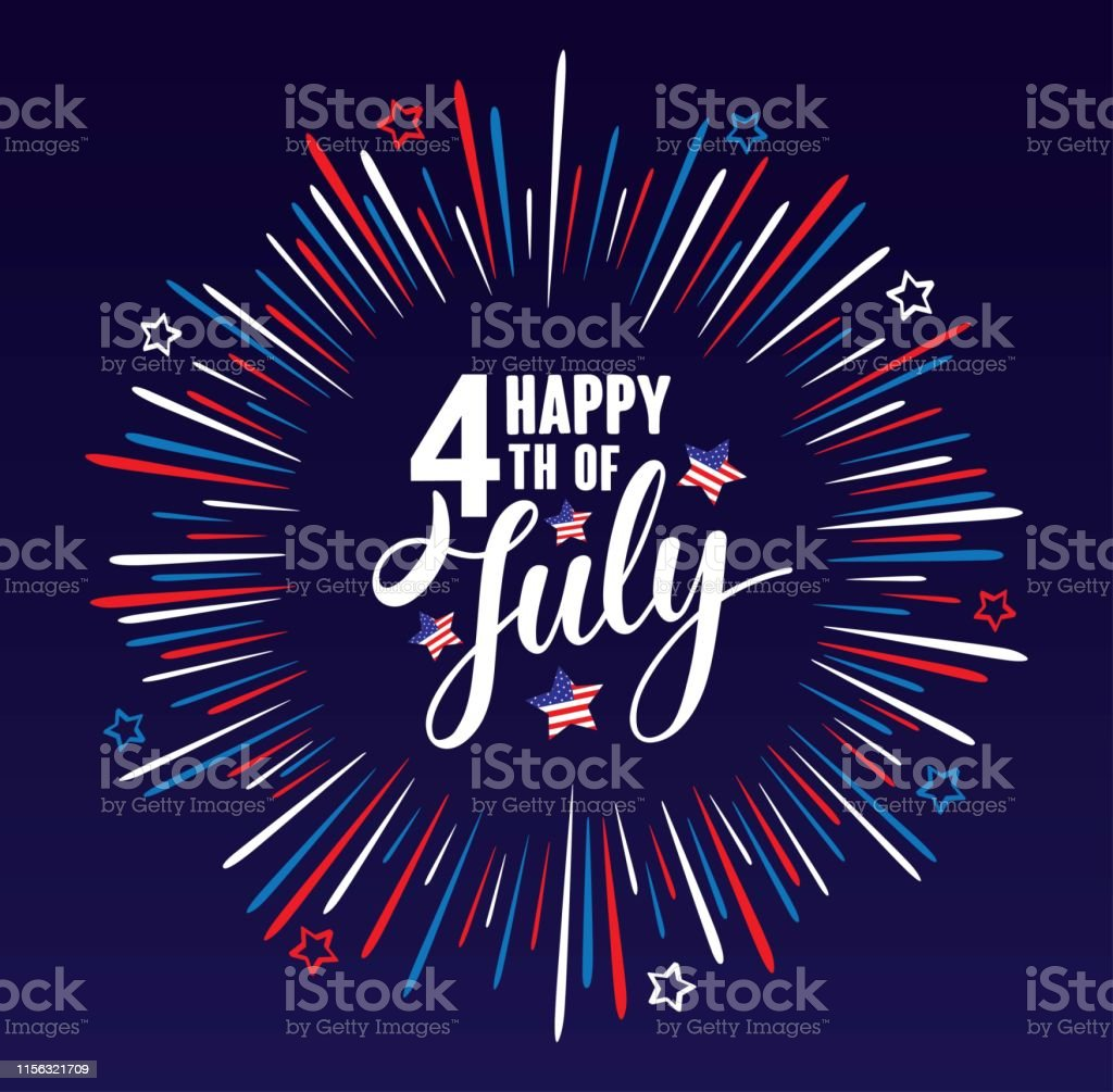 Happy 4th of July Independence day USA  handwritten phrase with stars, American flag and firework isolated on dark blue background. Vector lettering illustration. - Grafika wektorowa royalty-free (4-go lipca)