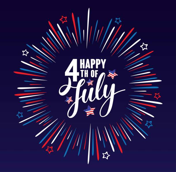 happy 4 temmuz bağımsızlık günü abd yıldız ile el yazısı cümle, amerikan bayrağı ve koyu mavi arka planda izole havai fişek. vektör yazı illustration. - happy 4th of july stock illustrations