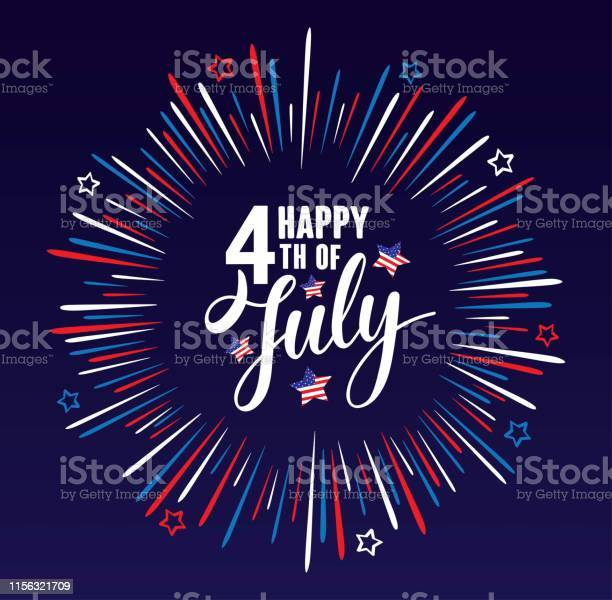 Happy 4th Of July Independence Day Usa Handwritten Phrase With Stars American Flag And Firework Isolated On Dark Blue Background Vector Lettering Illustration - Stockowe grafiki wektorowe i więcej obrazów 4-go lipca