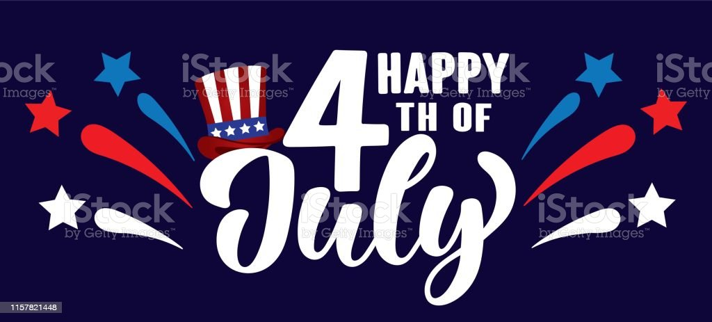Happy 4th of July Independence day USA  handwritten phrase with stars, hat of uncle Sam and firework. - Grafika wektorowa royalty-free (4-go lipca)