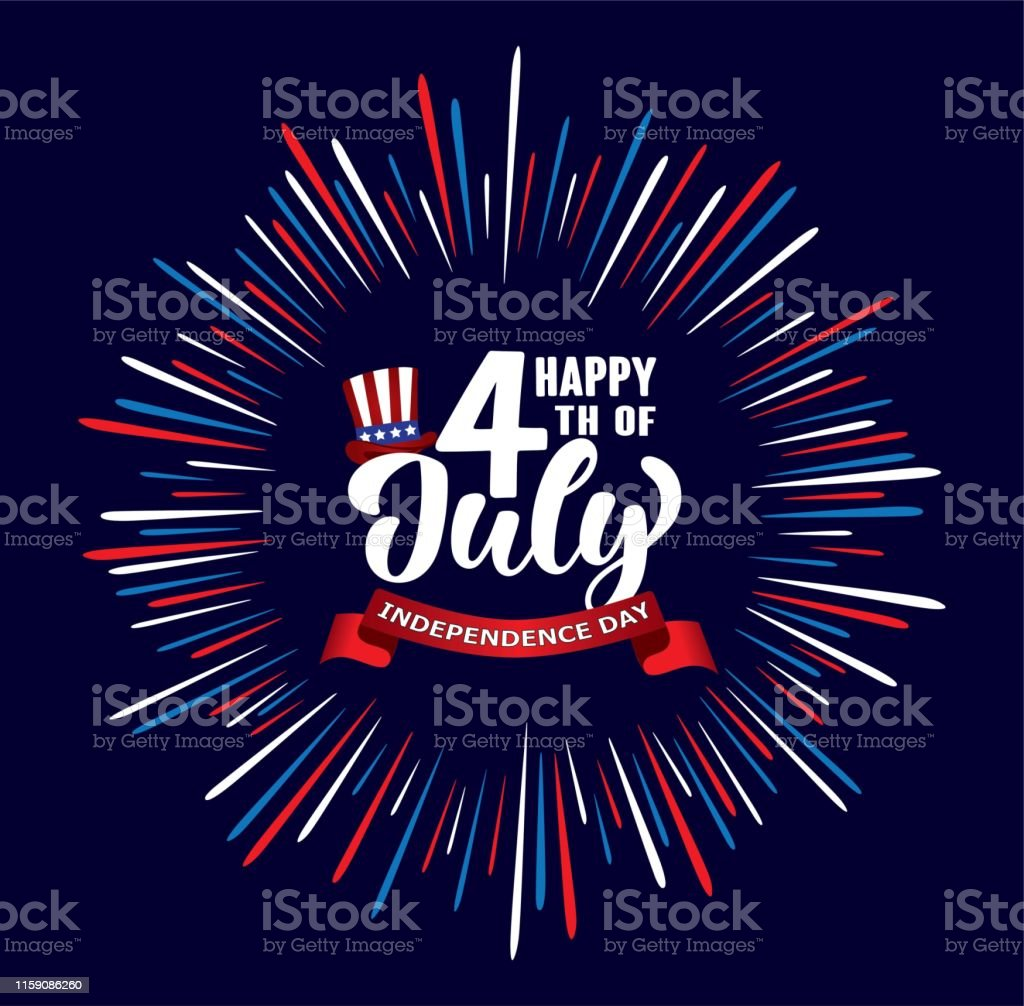 Happy 4th of July Independence day USA  handwritten phrase with stars, American flag, hat of uncle Sam and firework. - Векторная графика Американская культура роялти-фри