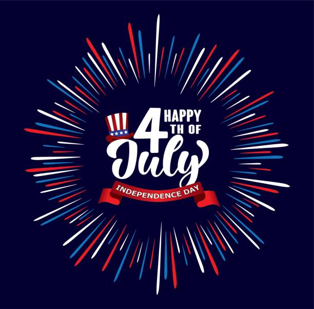 Happy 4th of July Independence day USA  handwritten phrase with stars, American flag, hat of uncle Sam and firework. vector art illustration